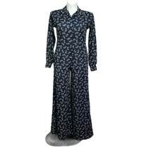 Vintage 70s 80s Aileen Navy Blue Wide Leg Palazzo Jumpsuit White Floral ... - $46.74