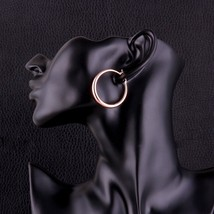 """Women's Fashion Jewelry Round Rose Gold Plated 1.5"""" Hoop Earrings 22-4 - $9.79"""