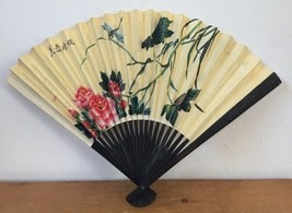Vintage Chinese China Paper Hand Folding Fan Dragonfly Pink Lotus Flowers - $29.99