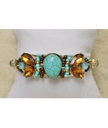 Faux Turquoise Wired Simulated Crystal Gold Tone Cuff Bracelet - $39.59