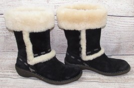 UGG womens BOOTS 6 37 BLACK Suede Leather Sheepskin Lining Trim Rubber S... - $40.00