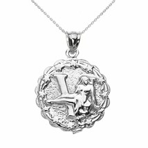 925 Sterling Silver Virgo September Zodiac Sign Round Pendant Necklace  - $27.62+