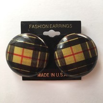 Vintage Round Plaid Button Earrings Pierced Statement 1980s 1990s NOS Ye... - $14.80