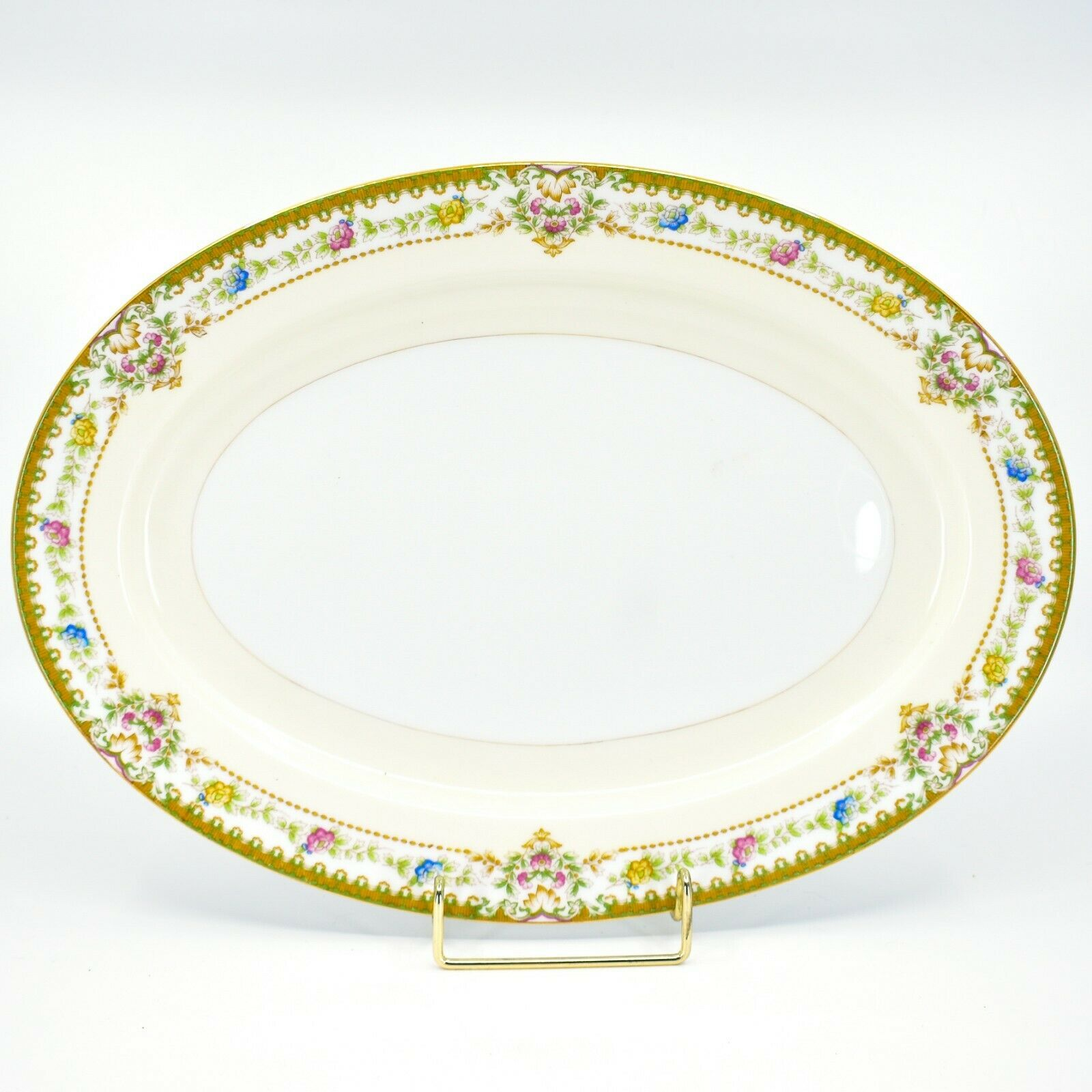Meito China Blue Yellow & Pink Flower Gold Accent Oval Serving Platter