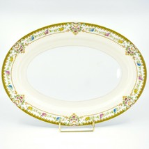 Meito China Blue Yellow & Pink Flower Gold Accent Oval Serving Platter image 1