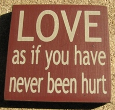 wood primitive block 32343LM-Love as if you have never been hurt - €2,68 EUR