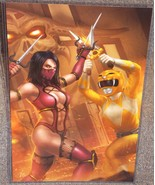 Yellow Ranger vs Mileena Glossy Art Print 11 x 17 In Hard Plastic Sleeve - $24.99