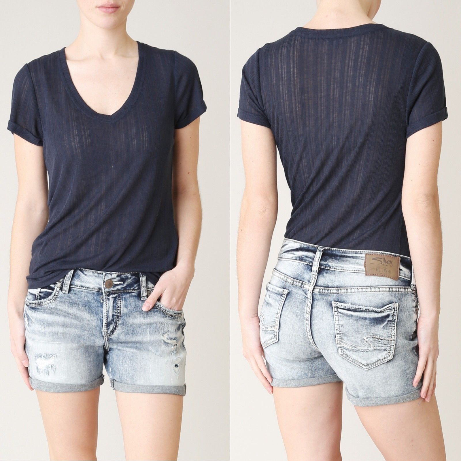 Women Silver Jeans Shorts Mid Rise Suki Destroyed Frayed Rolled Denim Stretch 25