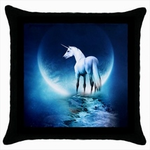 Throw pillow case cover white horse unicorn - $19.50