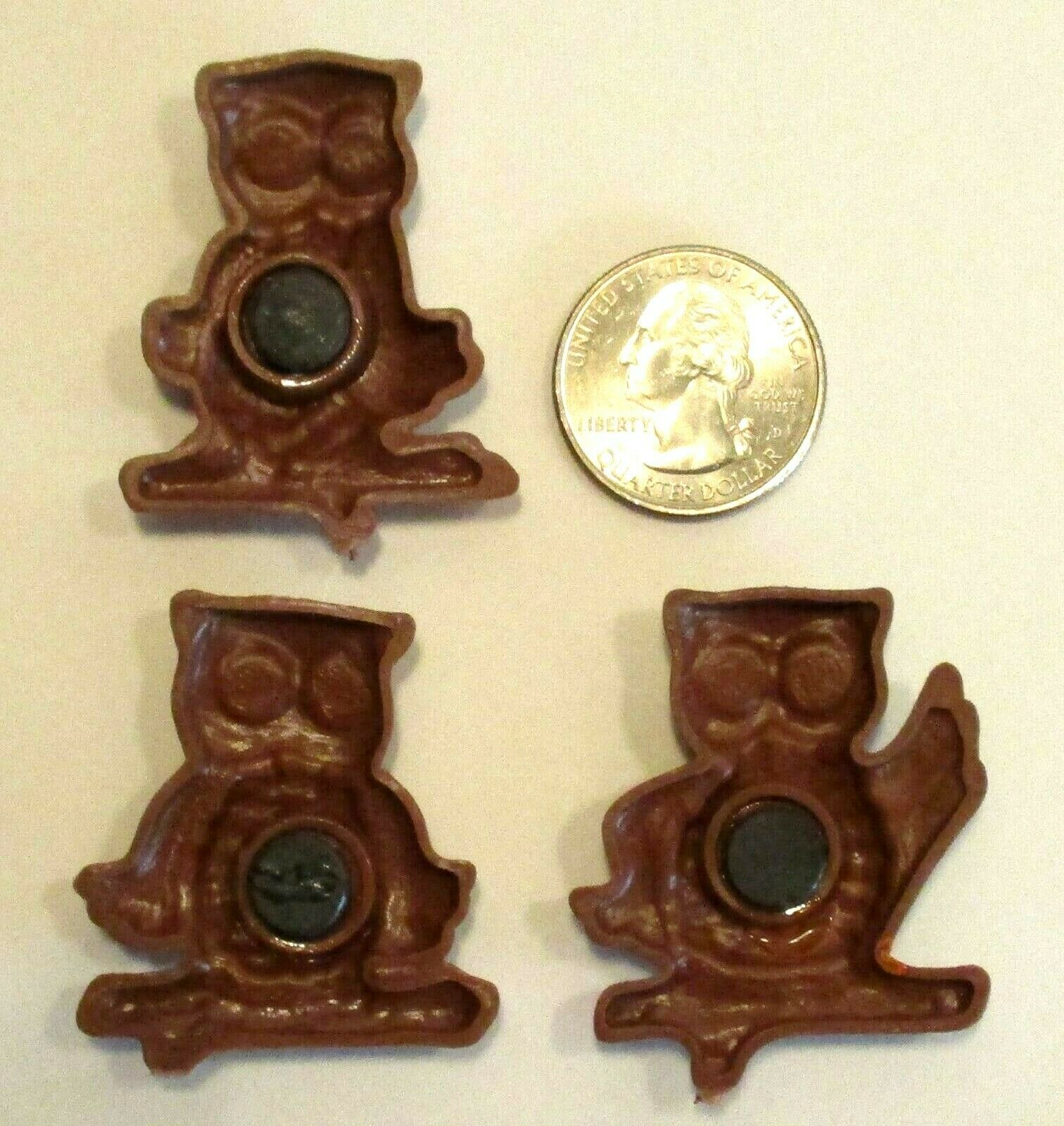 CUTE! 1970's Retro Vintage Wise Owls Rolling Eyes Orange Brown Yellow Magnets image 3