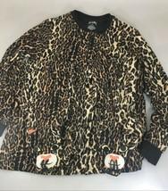 Nick & Nora Womens M Leopard Animal Print One Piece Fleece Footed Pajamas  - $33.81