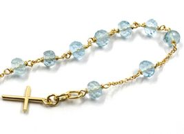 18K YELLOW GOLD ROSARY BRACELET, OVAL FACETED AQUAMARINE, MINI TUBE CROSS image 3