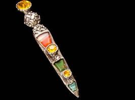 """LARGE Vintage Brooch Scottish Dirk Kilt pin - bloodstone  citrine agate 3 1/2"""" l image 4"""