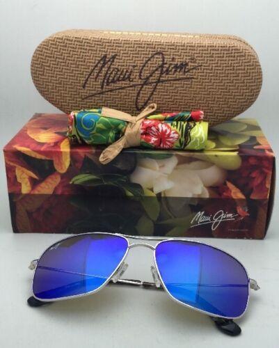 Polarizados Maui Jim Gafas de Sol Titanio Wiki Mj 246-17 Plata con / Hawai Azul
