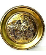 Vintage Relief Plaque Nautical Scene Brass Decorative Plate Wall Hanging... - $37.99