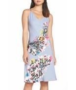 NWT New Designer Natori Womens S Night Gown Silky Light Blue Pink White ... - $104.00