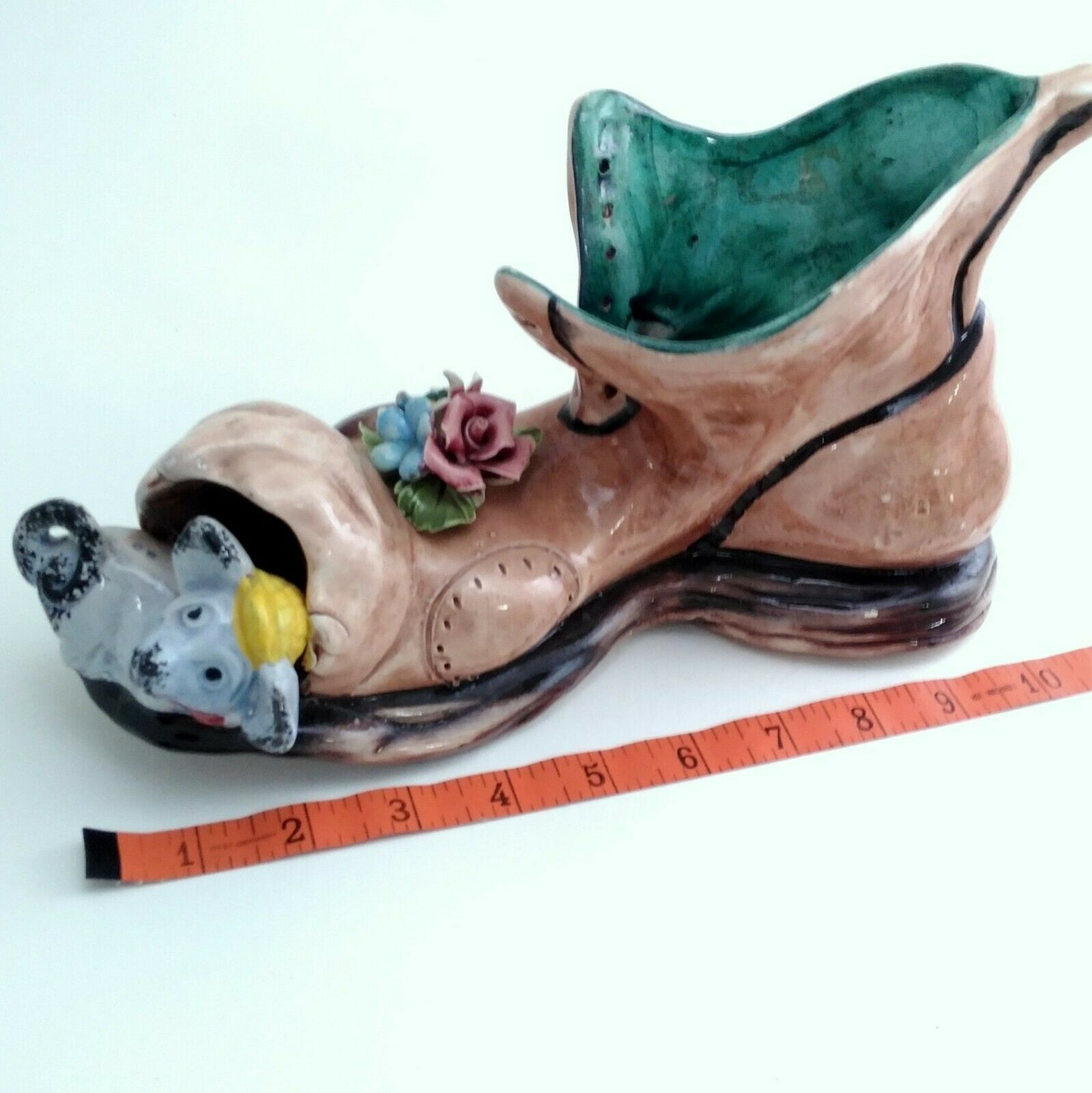 """Capodimonte 10"""" long Old Folley Shoe w/ Mouse In the Toe Made in Italy"""