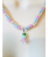 glow in the dark bead necklace jewelry plastic multi color beaded womens... - $6.99