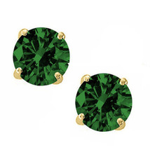 Round Cut Man Made Emerald 14k YG Sterling Silver May Basket Studs - $14.84+