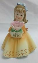 Lefton KW7227 April Birthday Girl Holding Flower Hand Painted Figurine, ... - $24.74