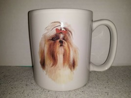 Large Ceramic Shih Tzu Toy Dog & Bow Coffee Mug Tea Cup Breed Facts Pers... - $15.47