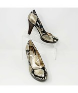 Sofft Womens Leather Metallic Gold & Black Faux Snake Skin Pumps, Size 8 M - $45.49