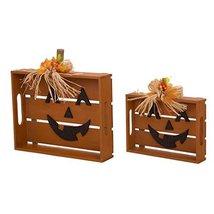 Glitzhome Wooden Halloween Bow Slatted Pumpkin Table Decor Set of 2 - $51.47
