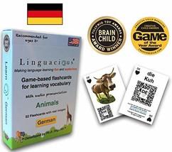 Linguacious Award-Winning German Animals Flashcard Game - The ONLY One w... - $26.14