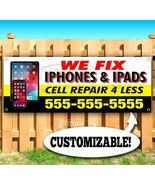 WE FIX IPHONES AND IPADS CUSTOM PH# Advertising Vinyl Banner Flag Sign M... - $12.32+