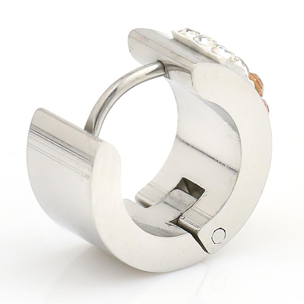 UNITED ELEGANCE Stylish Silver Tone Hoop Earrings With Swarovski Style Crystals