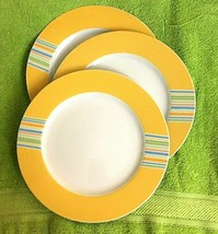 THREE Block Vista Alegre Portugal Yellow Banded Stripe Dinner Plates 10 ... - $27.55