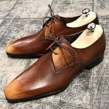 Handmade Men's Brown Leather Lace Up Dress/Formal Oxford Shoes image 5