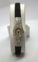Antique Longines Brevete 10K White Gold & Diamond Watch #93286-2D - $841.50