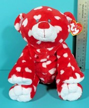 Ty Pluffies Dreamly Teddy Bear Red White Hearts Plush Stuffed Toy Lovey ... - $14.95