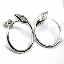 SOLID 18K WHITE GOLD EARRINGS, CIRCLE, SNAKE, WITH DIAMONDS, 20mm DIAMETER image 2
