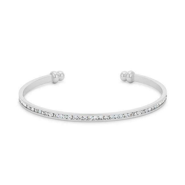 Primary image for Women Channel-Set White Cubic Zircon Cuff Bracelet Fashion Jewelry White Rhodium