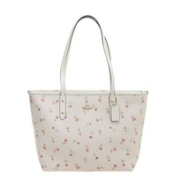 NEW Coach Zip Top Tote Vintage Prairie Floral Flower Print Chalk Red Cut... - $147.51