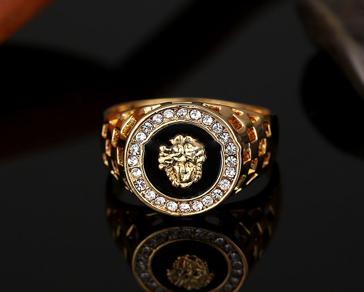 """1 x hip hop 18k plated gold color lion head rhinestone for men fashion 10"""" rings"""