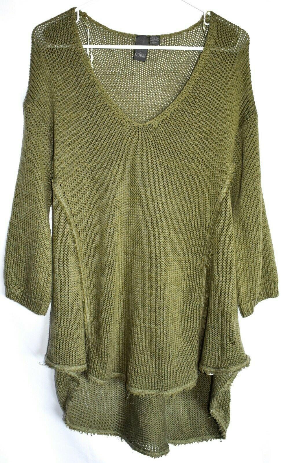 Quinn Francesca's Women's Army Green Fringe Trim Trapeze Pullover Sweater Size M