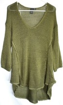 Quinn Francesca's Women's Army Green Fringe Trim Trapeze Pullover Sweater Size M image 1