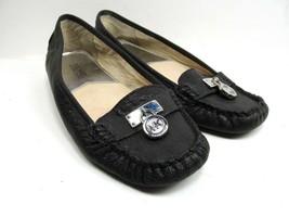 Michael Kors Flats Loafers  MK Goldtone Charm Size 6.5 Color Black EUC - $28.71