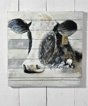 "31.5"" x 31.5"" Cow Head Black & White Wall Print on Panels of Fir Wood"