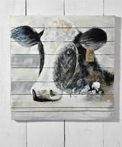 "31.5"" x 31.5"" Cow Head Black & White Wall Print on Panels of Fir Wood NEW"