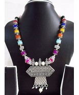 Indian Bollywood Oxidized Pendant Pearls Necklace Women's Ethnic Fashion... - $12.28