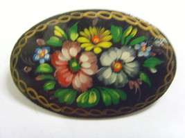 1960s vintage Russian st petersburg signed painted lacquered floral broo... - $19.59