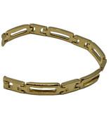 "Vintage Napier Gold Tone  Bracelet Tennis Linked 7.5"" Smooth Shiny Rectangles - $13.98"