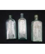 Antique Liquor & Medicine Elixir Bottles SET OF 3 Gordons Gin Caldwells ... - $29.95
