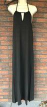 Black Halter Maxi Dress Small Stretch Sleeveless Side Slit Elastic Back Jump NWT image 5