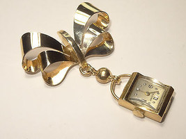 Vintage CHAMP 14K Gold 17J Pendant Watch with 14K Ribbon Bow Brooch 40mm... - €627,70 EUR