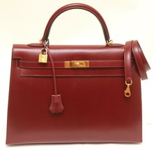 HERMES Kelly 35 cm Tote Sellier ROUGE H Box Leather Bag - $12,349.05